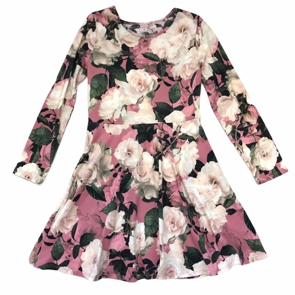 CHILDREN'S PLACE Dress Floral A-Line Long Sleeves